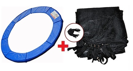 12FT Standard Deluxe Trampoline Pad w/ Enclosure Net (4-Arch) Straps and Rope *Combo Set*